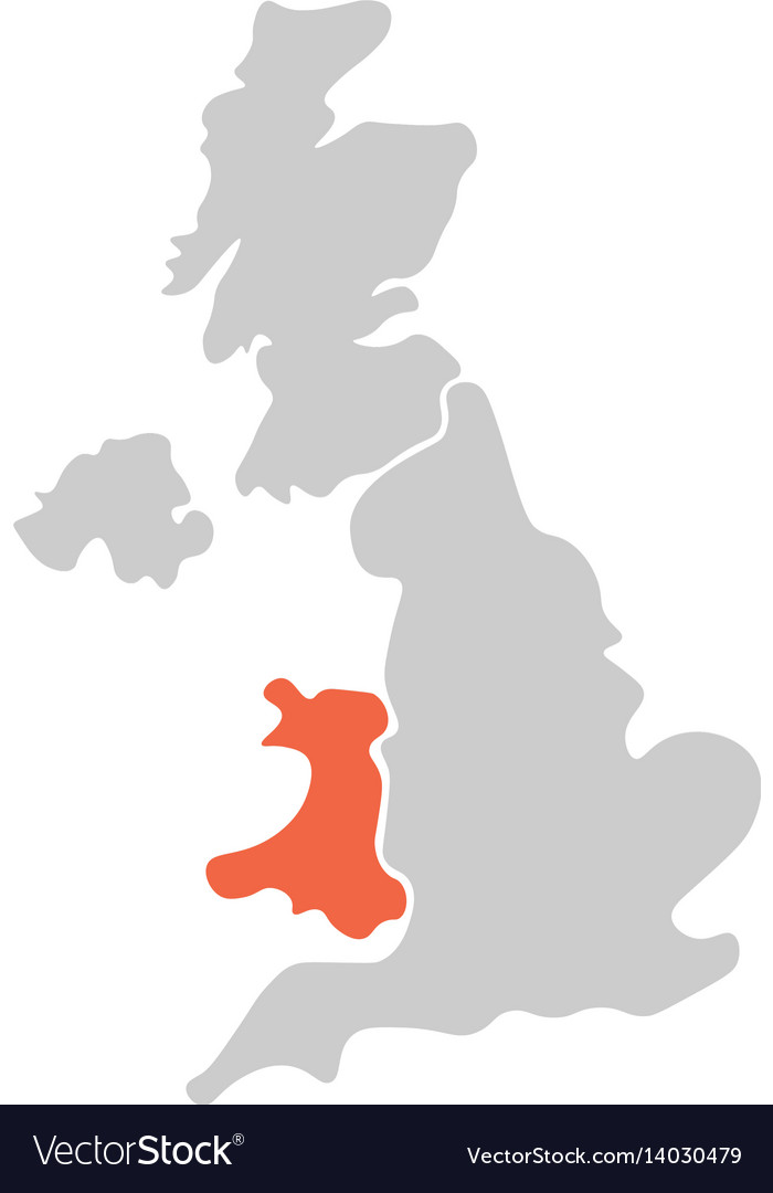 Simplified hand-drawn blank map of united kingdom vector image