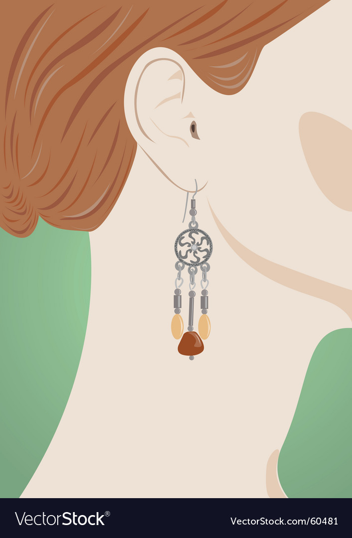 Female ear with jeweller vector image