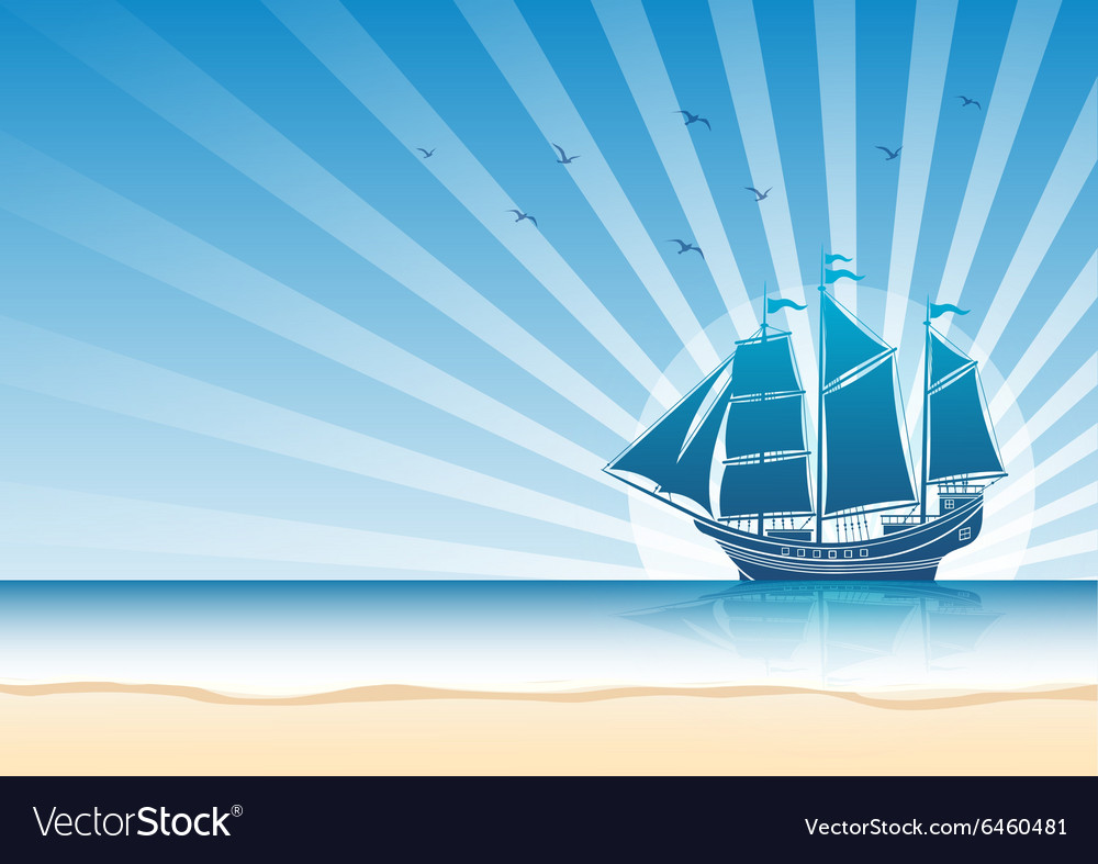 Sail ship background5 vector image