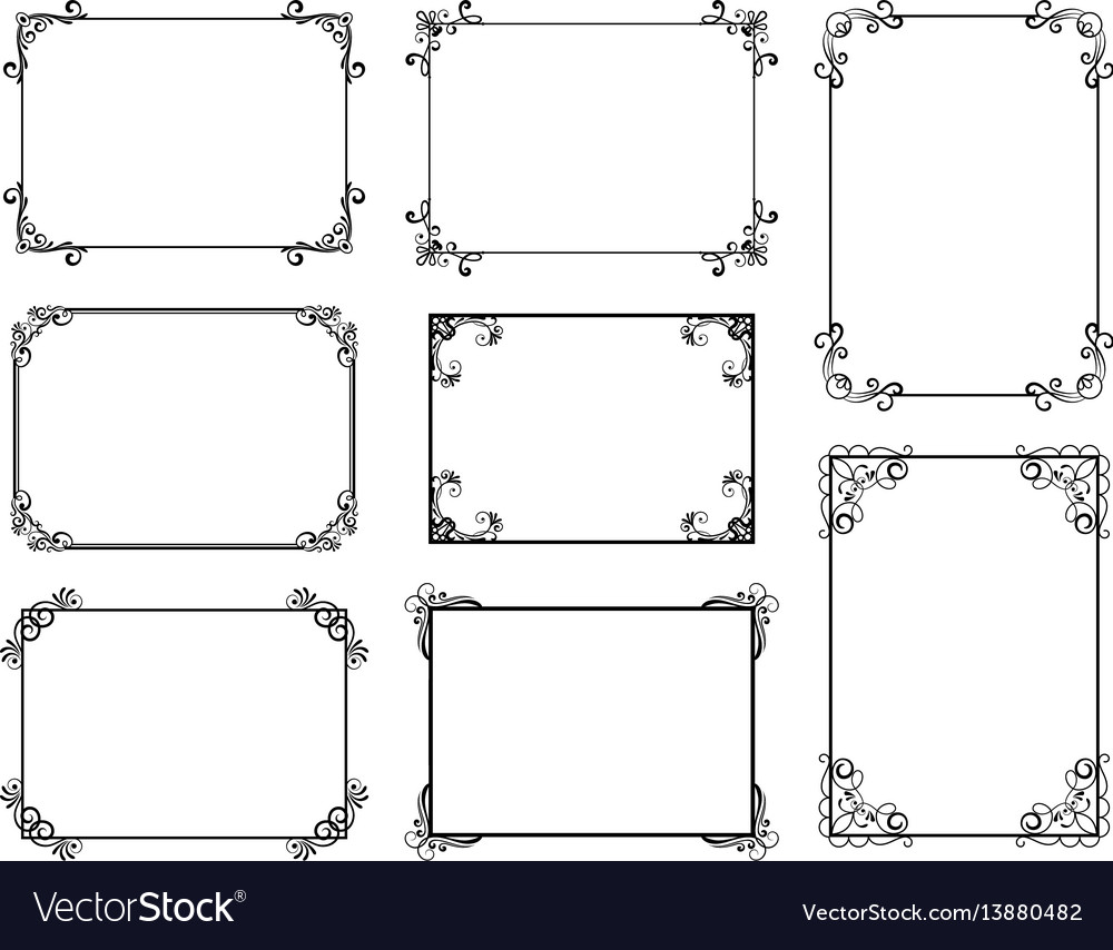 Decorative frame set with old filigree swirls for vector image