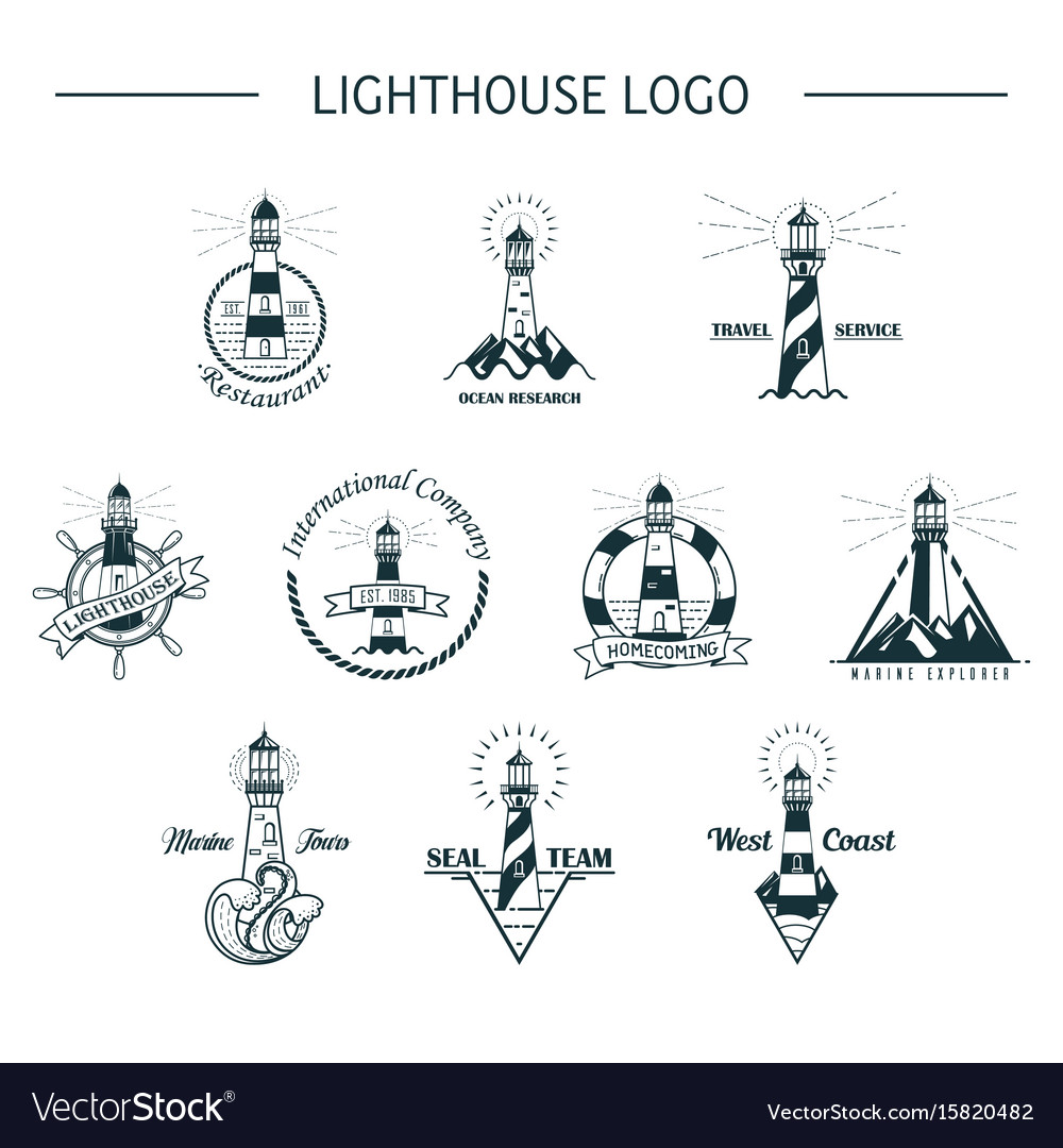 Set of isolated ocean or sea lighthouse vector image