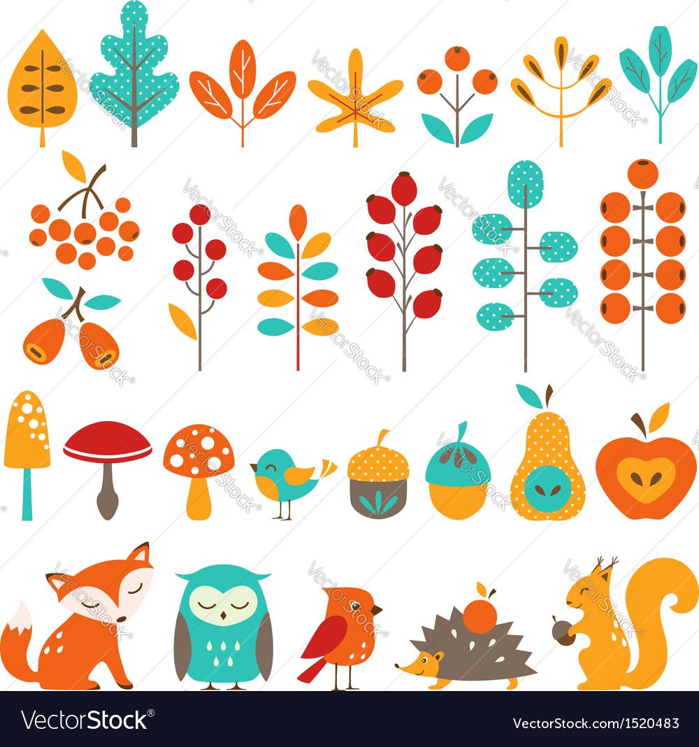 Cute autumn design elements vector image