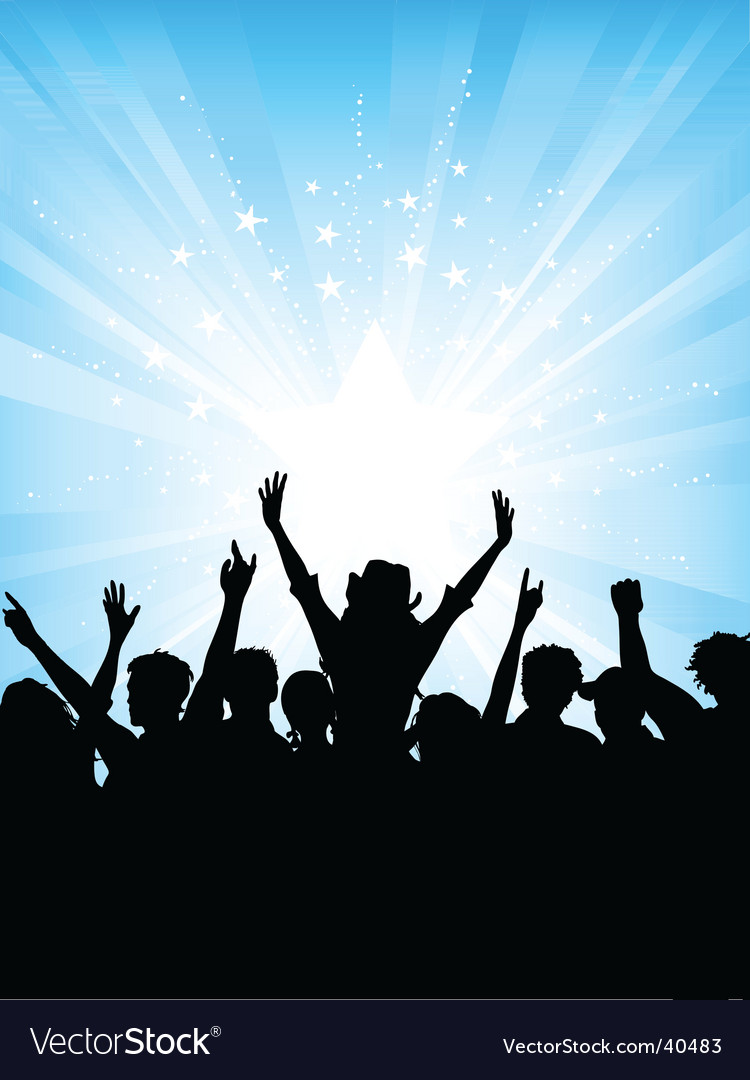 Crowd on starburst background vector image