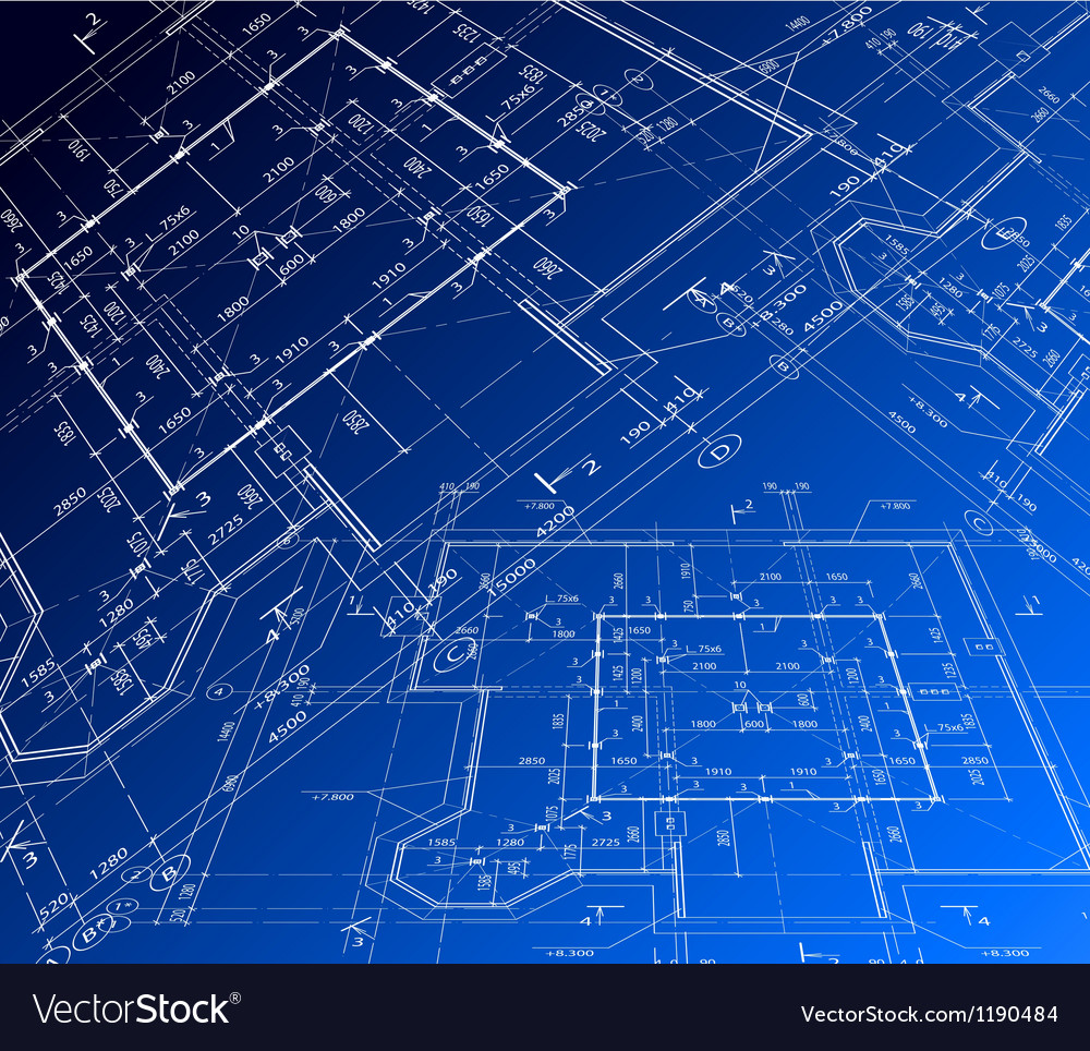 House plan blueprint vector image. House plan blueprint Royalty Free Vector Image