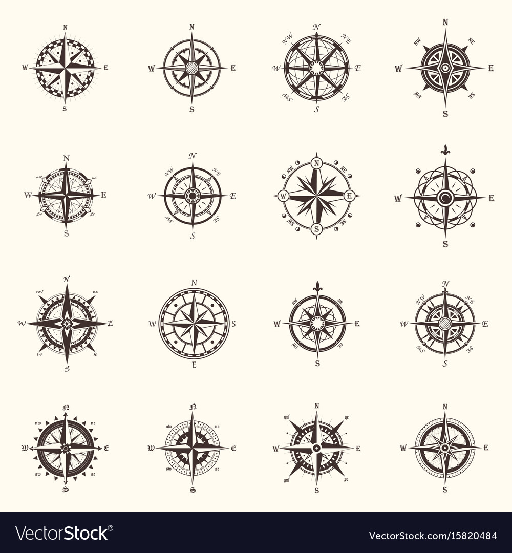 Old compass or ocean sea navigation wind rose vector image