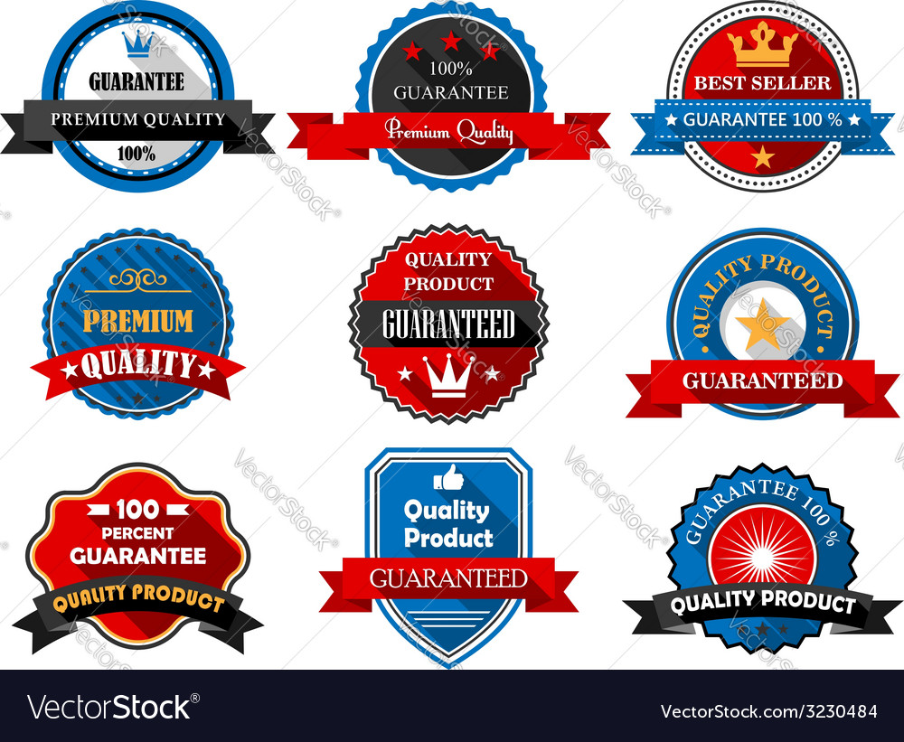 Quality and Premium product flat labels vector image