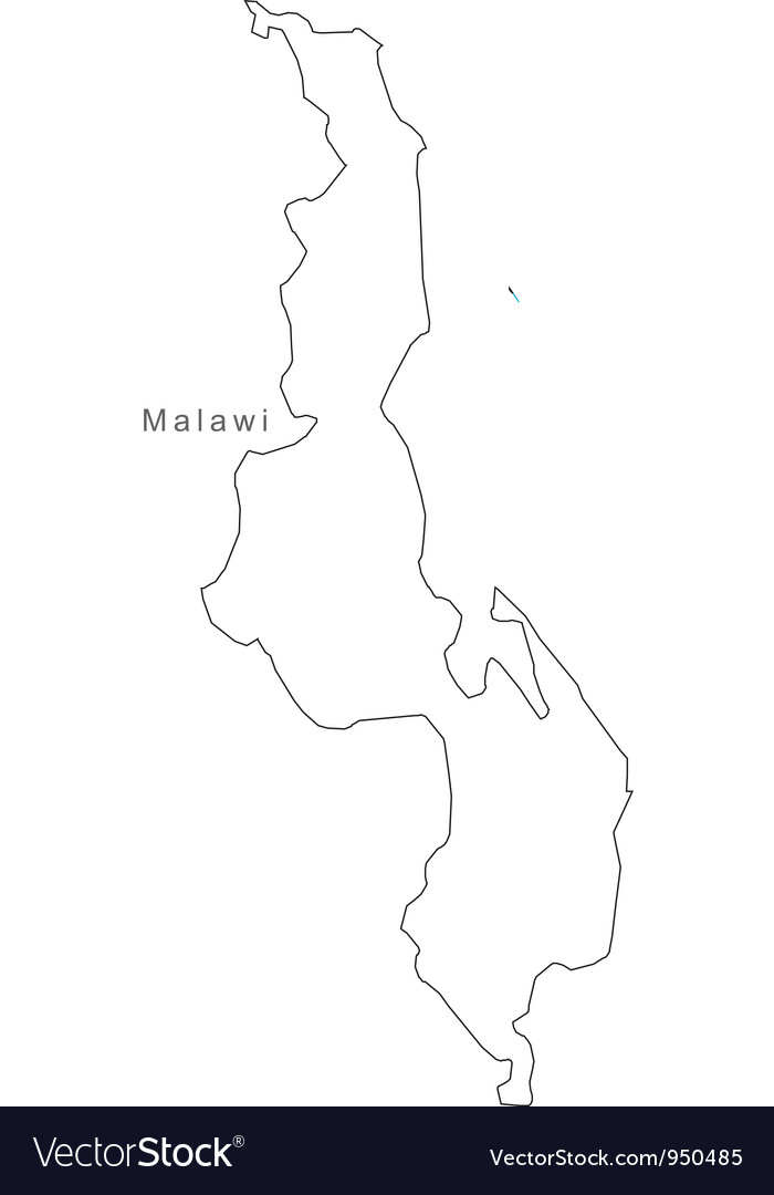 Black White Malawi Outline Map Royalty Free Vector Image - Malawi blank map