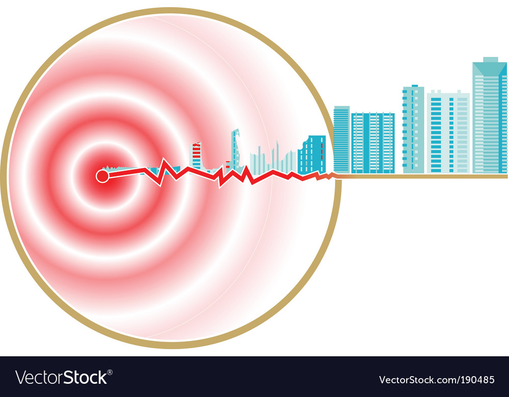Earthquake epicenter vector image
