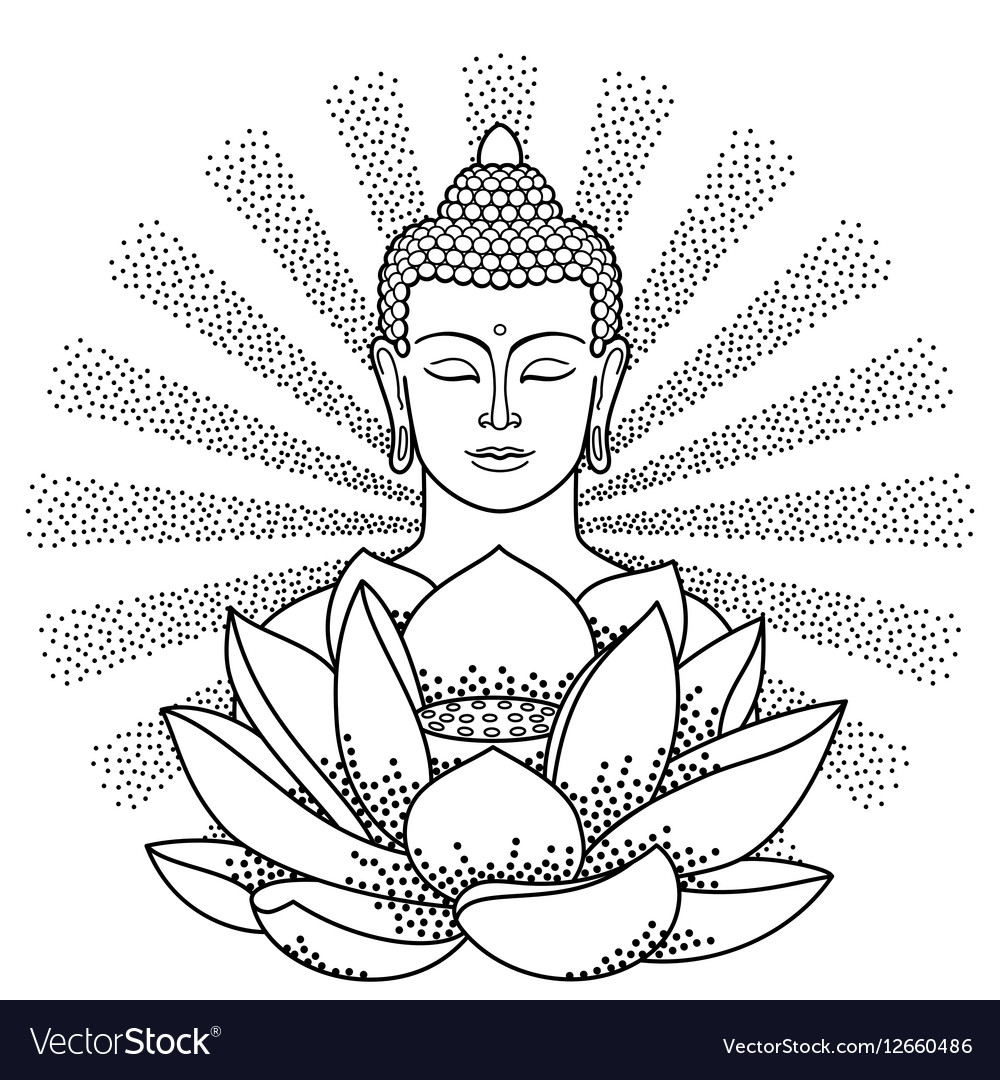 Buddha and Lotus with beam of light vector image