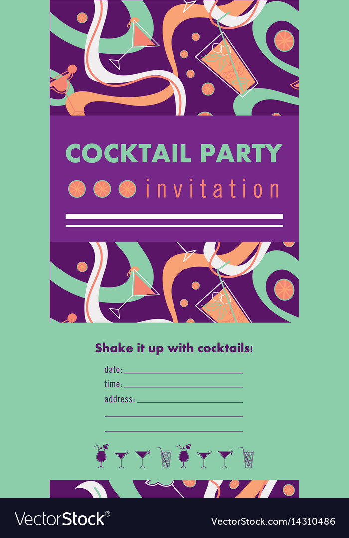 Cocktail party vertical invitation card template vector image