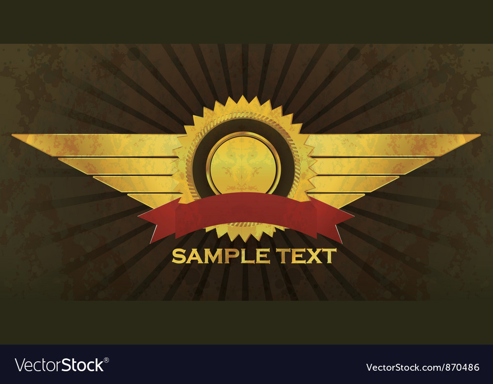 Grunge label with wings vector image