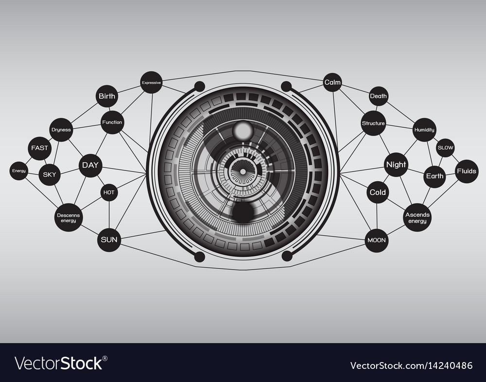 Modern yin yang with technology abstract vector image