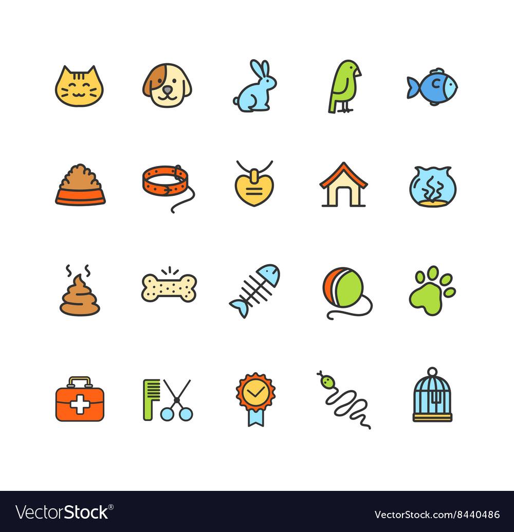 Pet Icon Colorful Set vector image