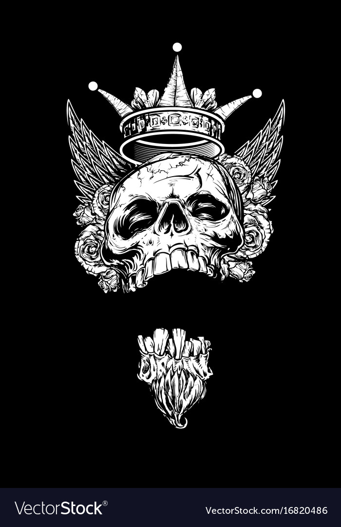 Winged king skull with roses and crown vector image