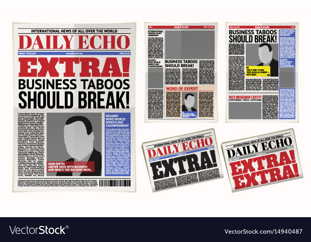 Daily newspaper template tabloid layout vector image