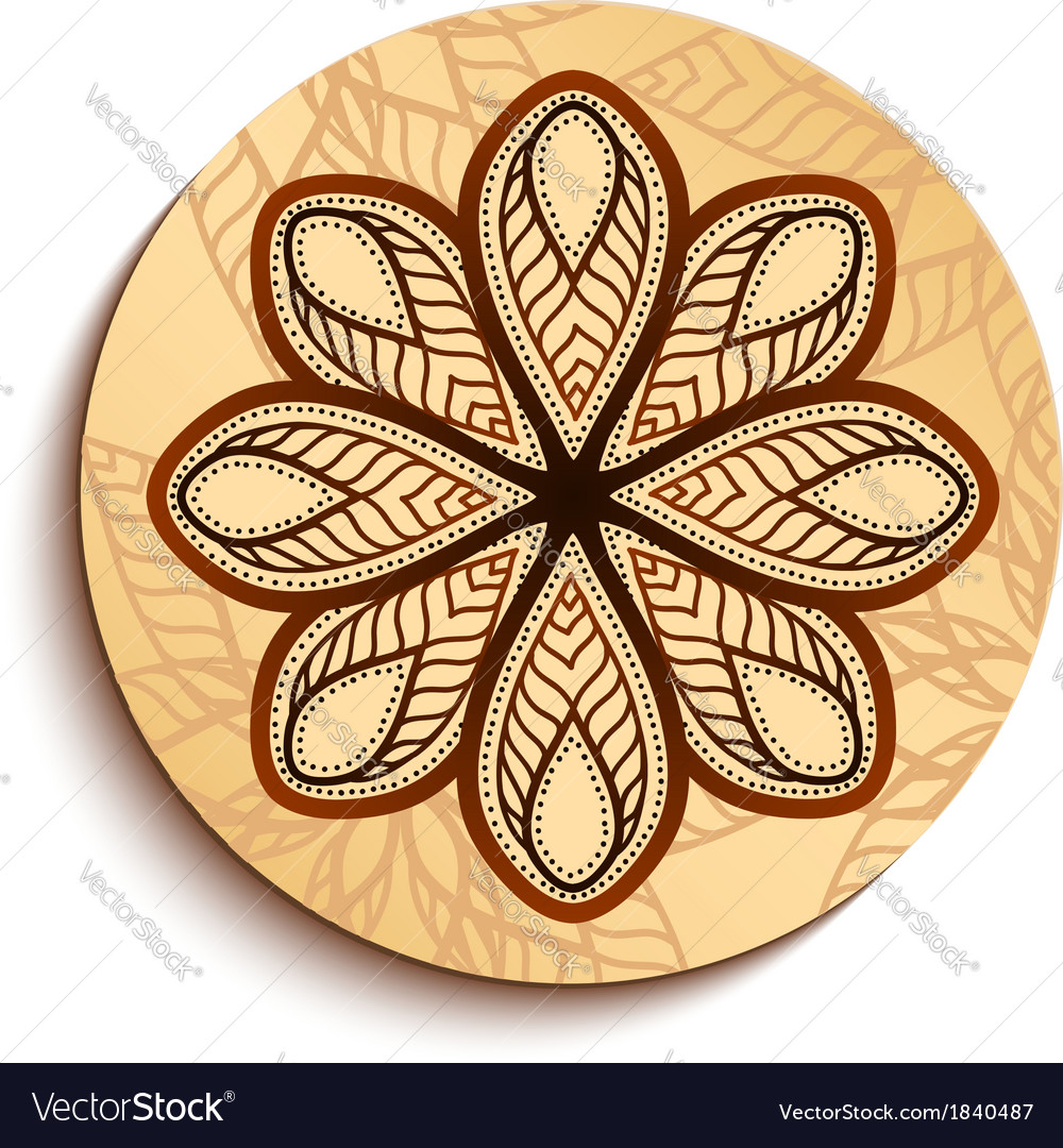 Ethnic Wooden Plate Isolated on White vector image