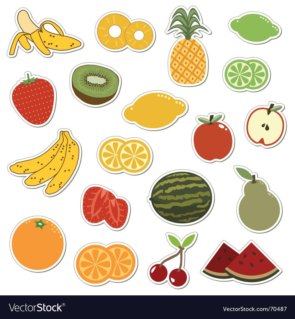 Fruit stickers Royalty Free Vector Image - VectorStock