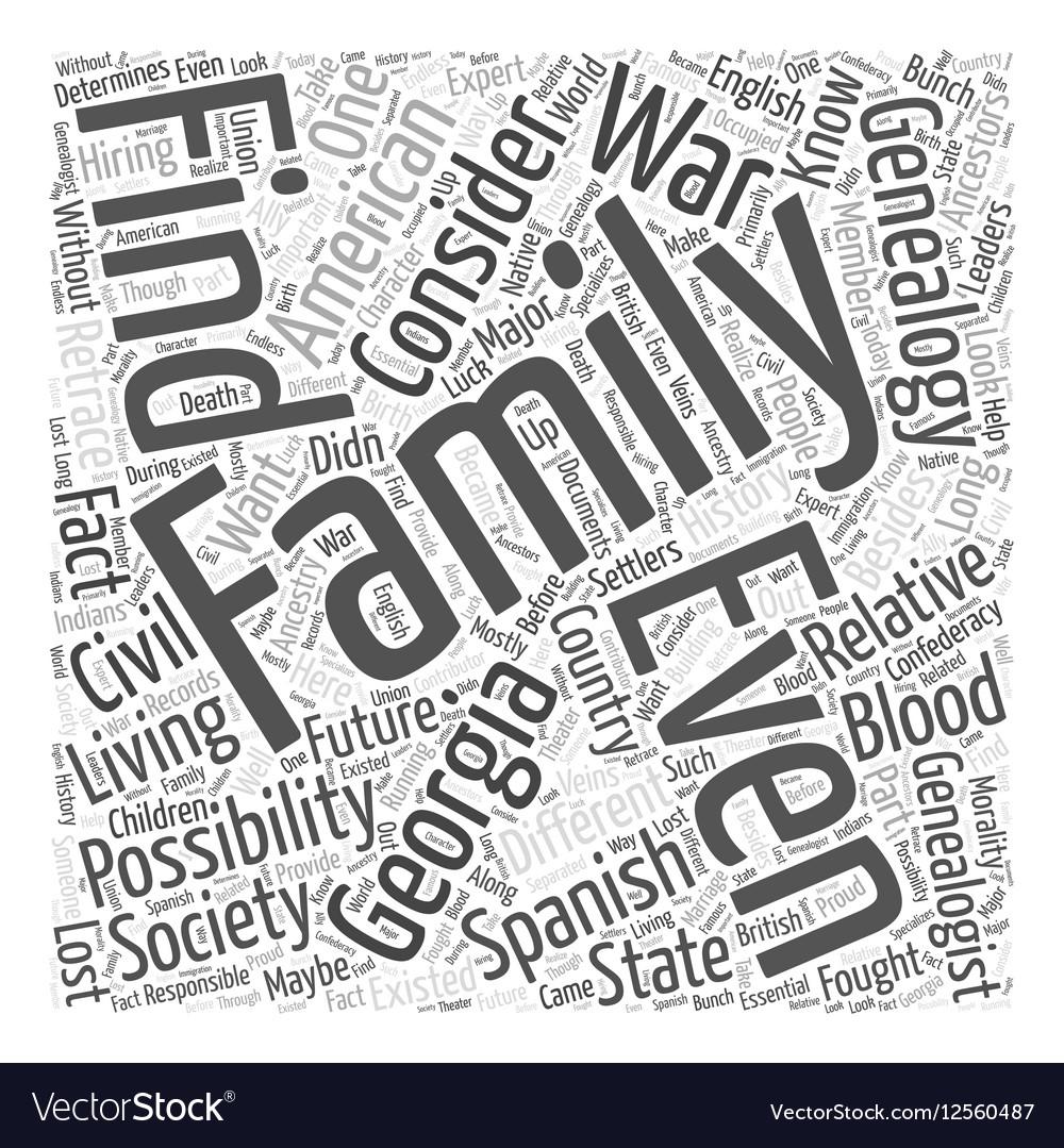 Georgia genealogy Word Cloud Concept vector image