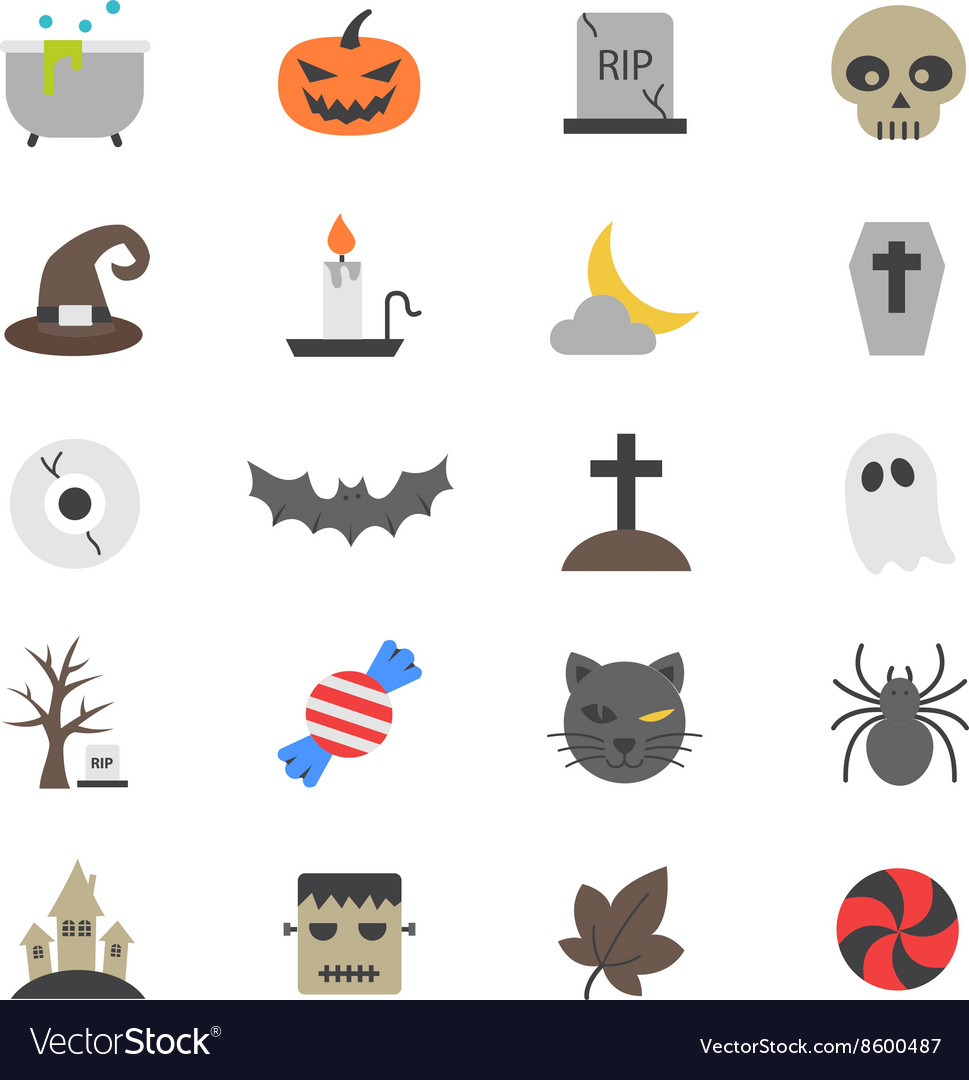Halloween Party Flat Color Icons vector image