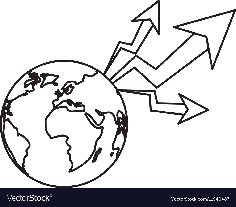 Isolated increase and planet design vector image