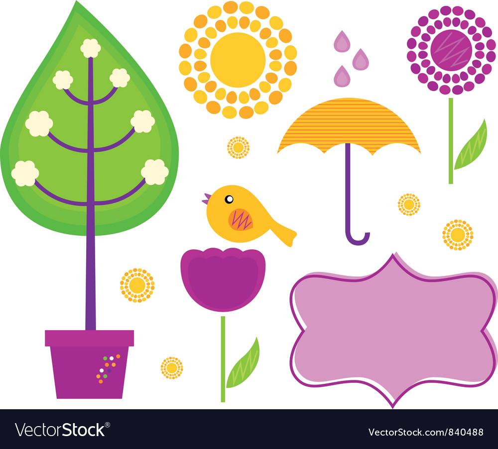 Spring design elements vector image