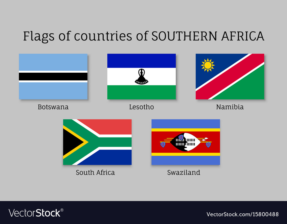 Southern africa flat flag set vector image
