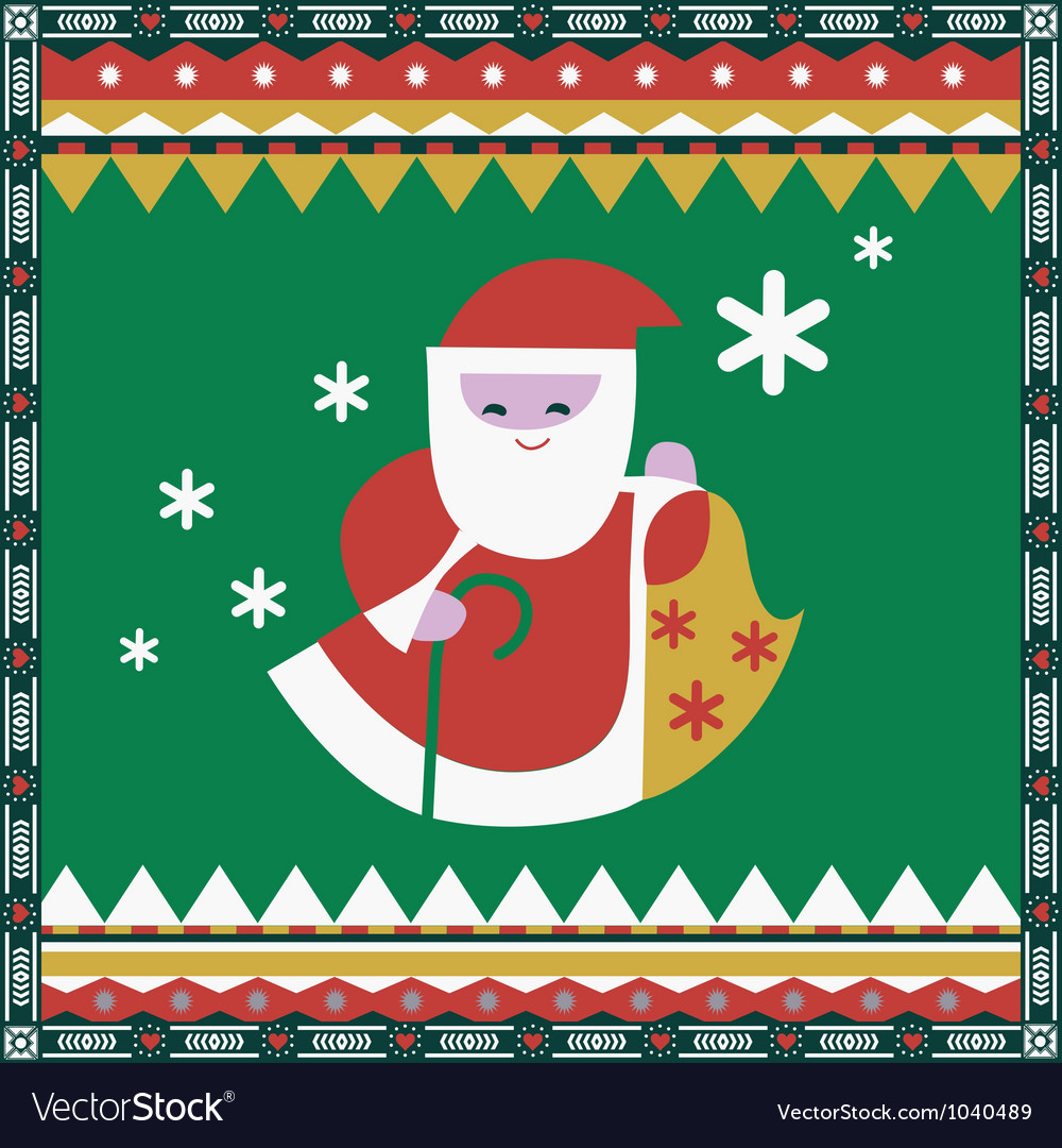Color ornamental print with Santa vector image