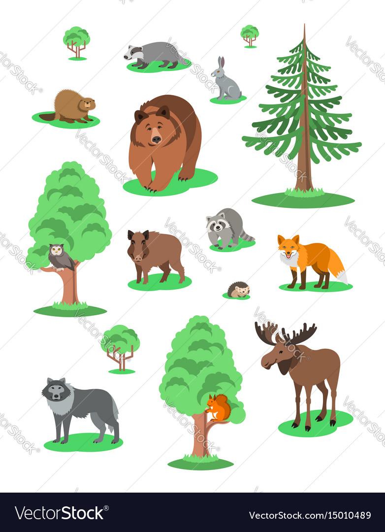 cute forest animals kids cartoon vector image - Kids Cartoon Animals