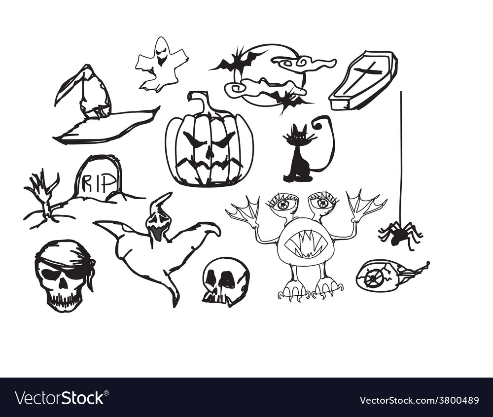 Set with halloween doodles vector image