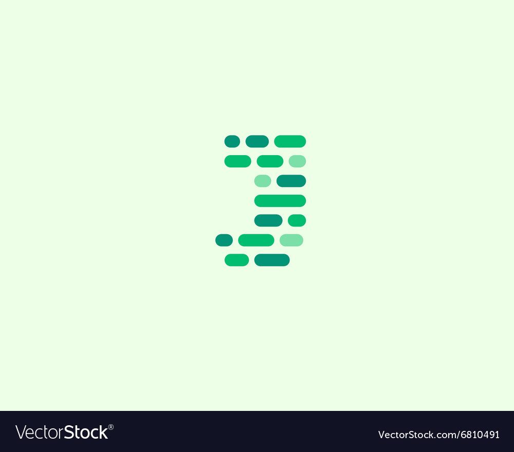 Abstract letter J logo Dynamic code vector image