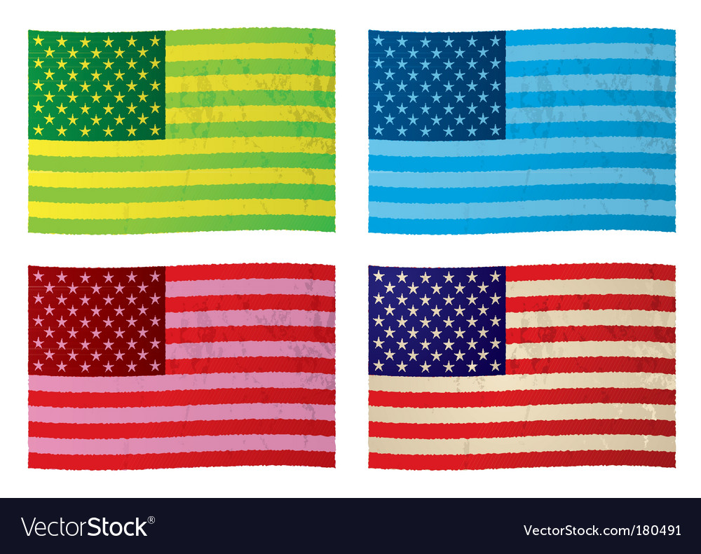 American grunge flags vector image