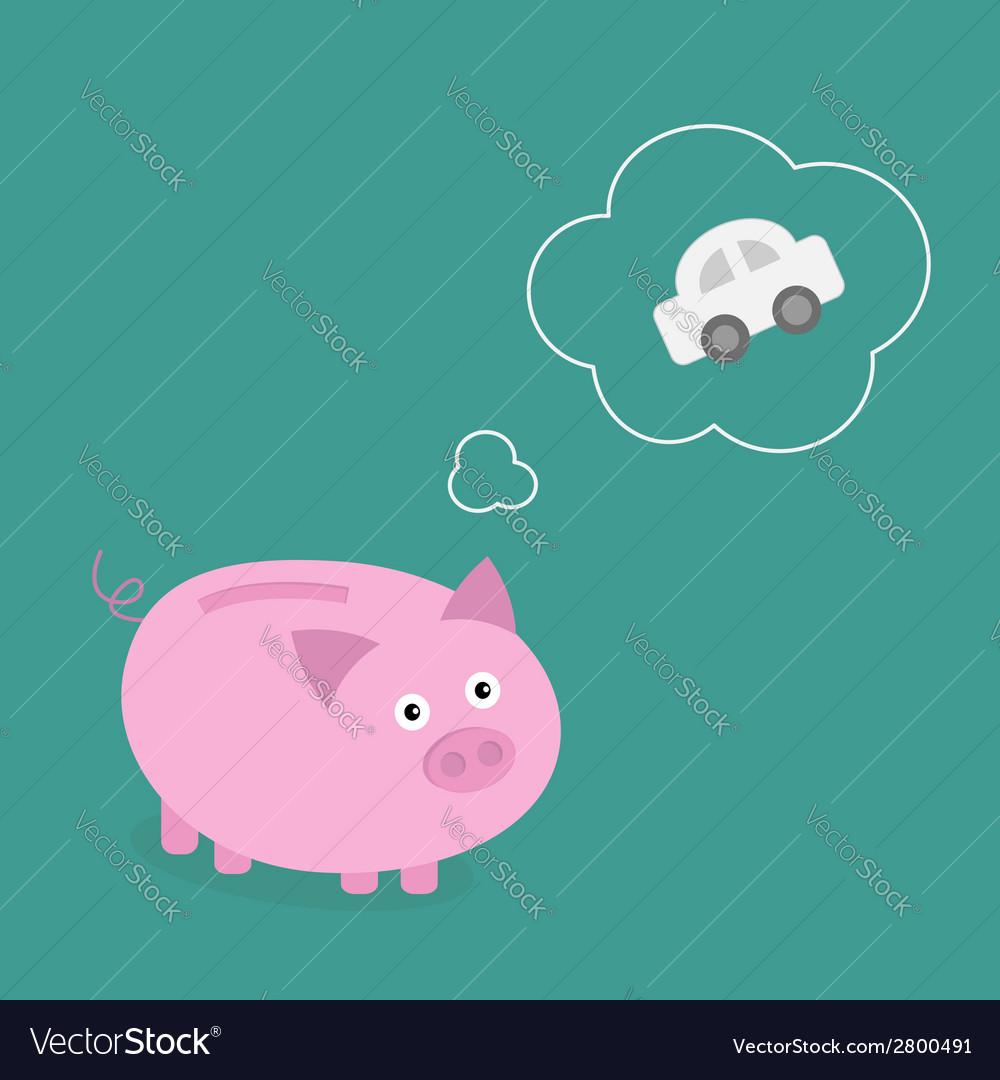 Piggy bank dream about car Think bubble contour vector image
