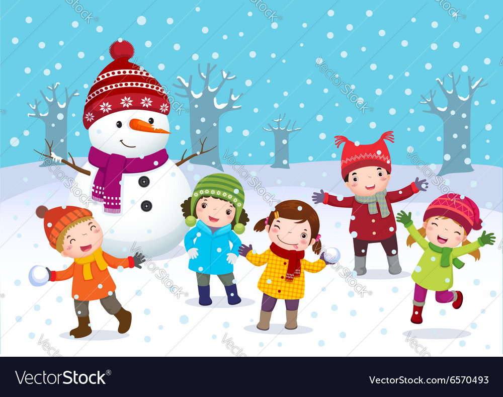 Kids playing outdoors in winter vector image
