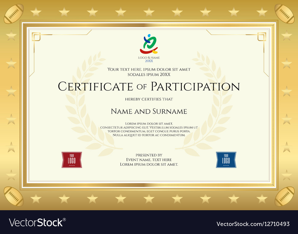Sample certificate of participation evaluation proposal sample sport theme certificate of participation template vector image sport theme certificate of participation template vector 12710493 alramifo Choice Image