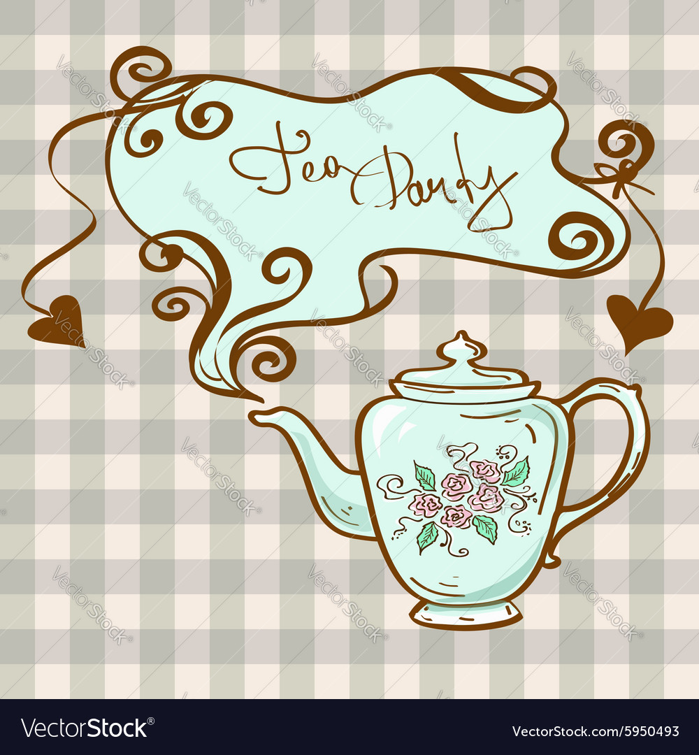 Tea party invitation with teapot Royalty Free Vector Image