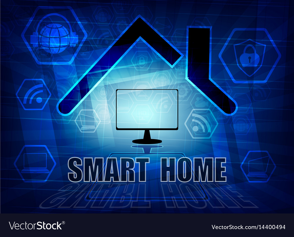 Blue background with attributes of the internet vector image