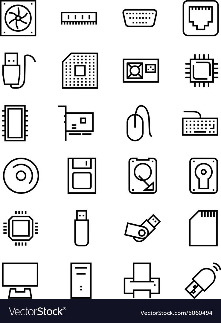Computer Hardware Line Icons 1 vector image