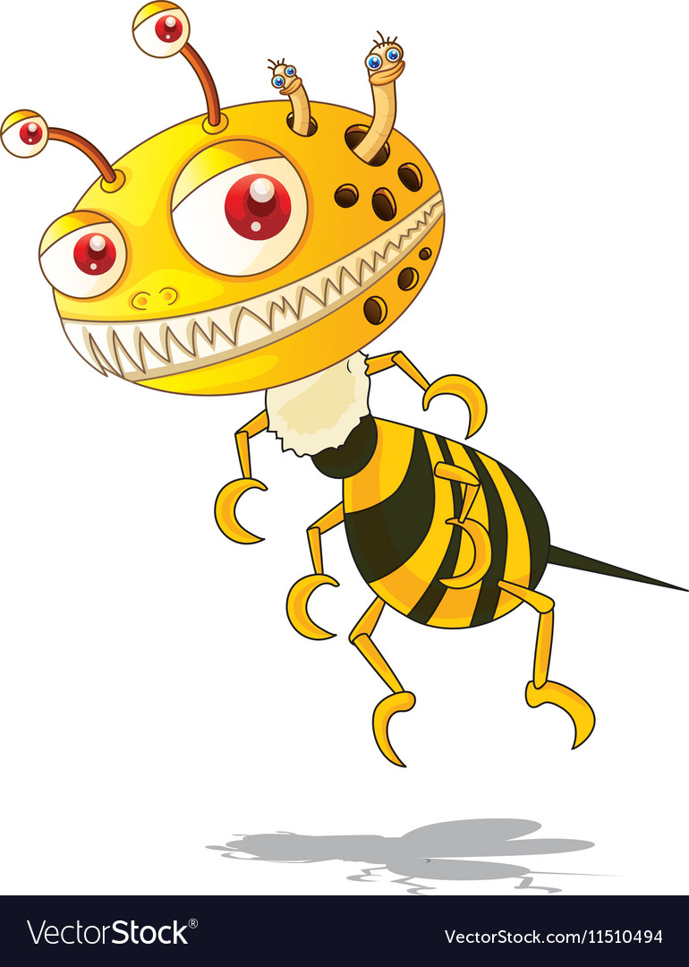 Flying monster with yellow and black striped vector image