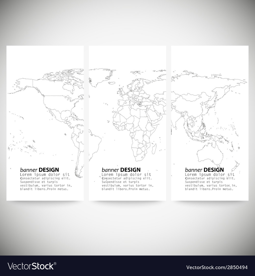 Set of vertical banners gray political world map vector image gumiabroncs Images
