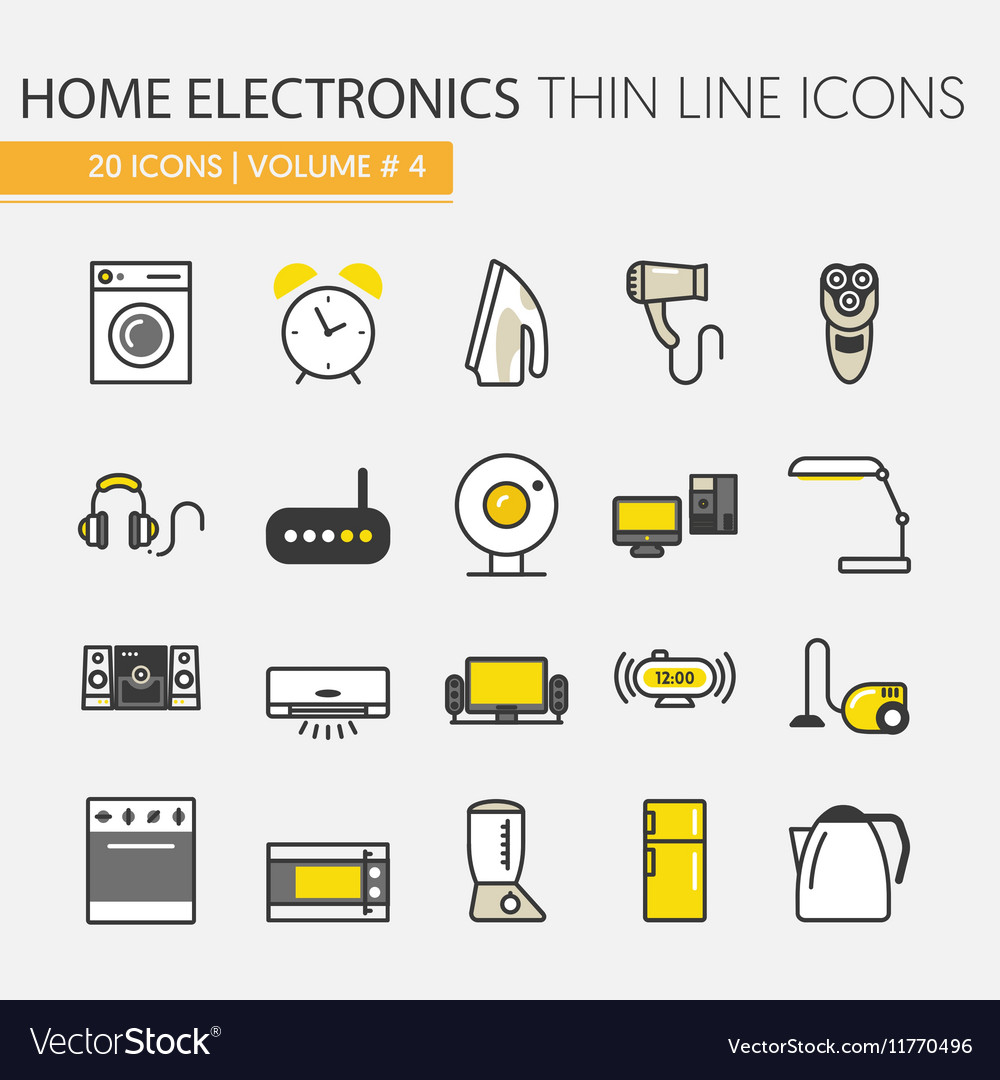 Home Electronics Appliances Thin Line Icons Set vector image