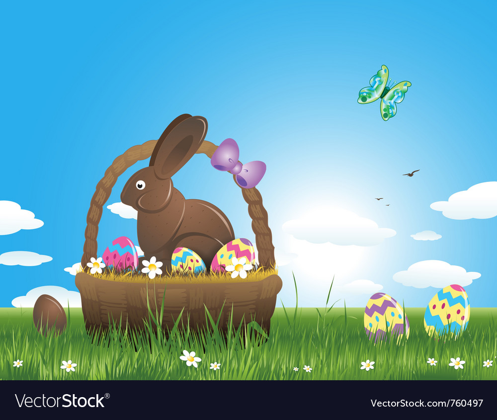 Easter background with eggs and chocolate bunny vector image
