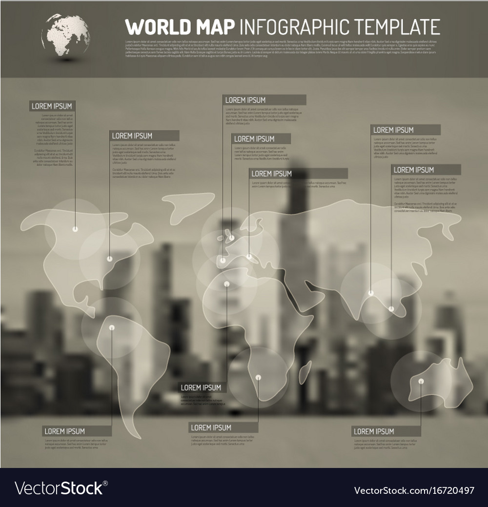 Light world map with pointer marks flags vector image gumiabroncs Images