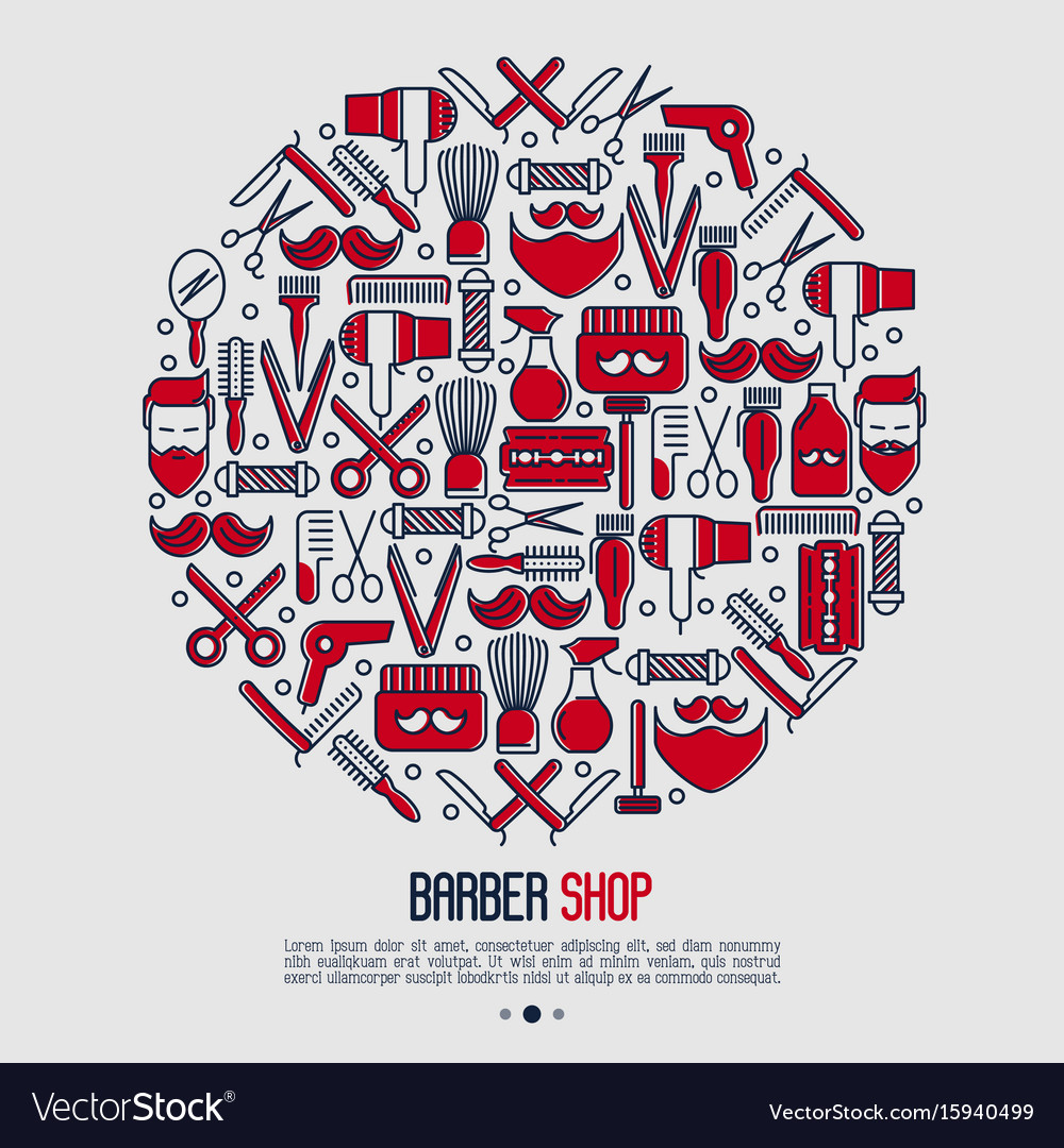 Barber shop concept in circle with thin line icons vector image