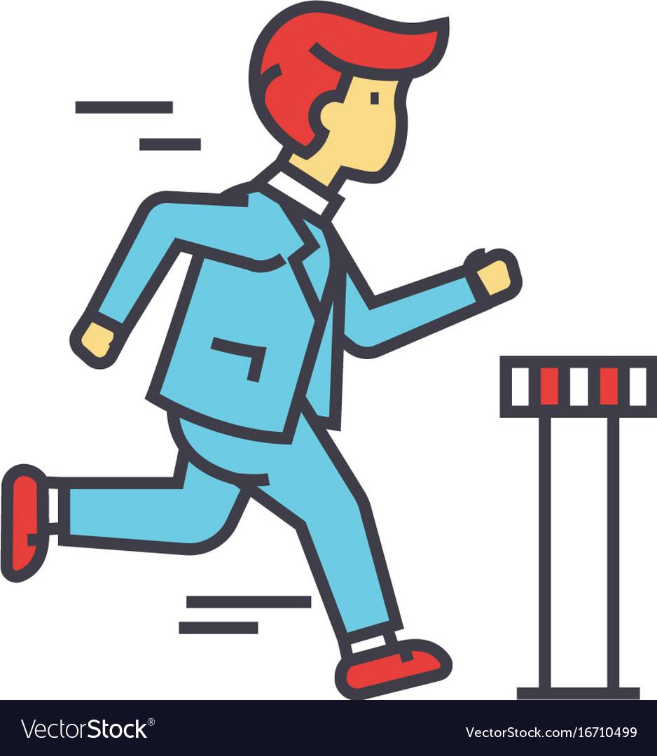 Businessman run cross finish line business race vector image