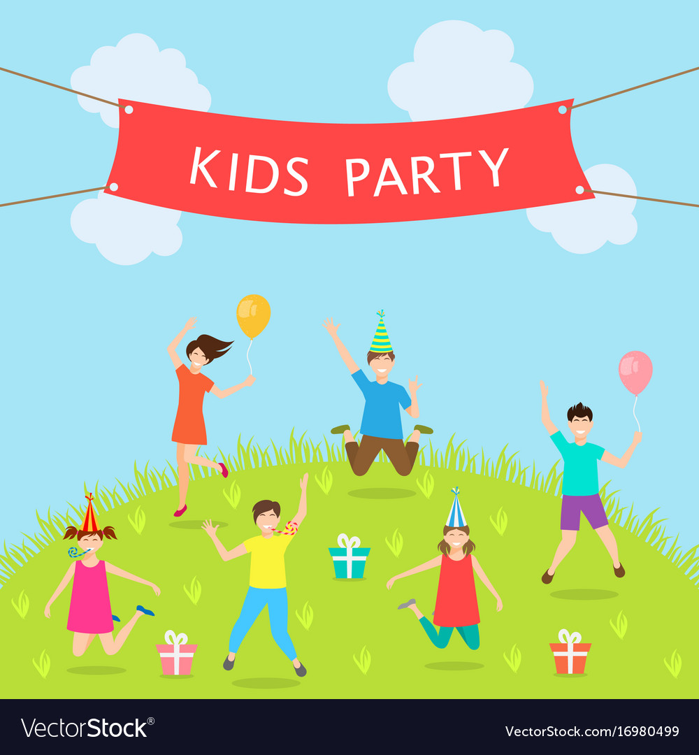 Children have fun party leisure and entertainment vector image