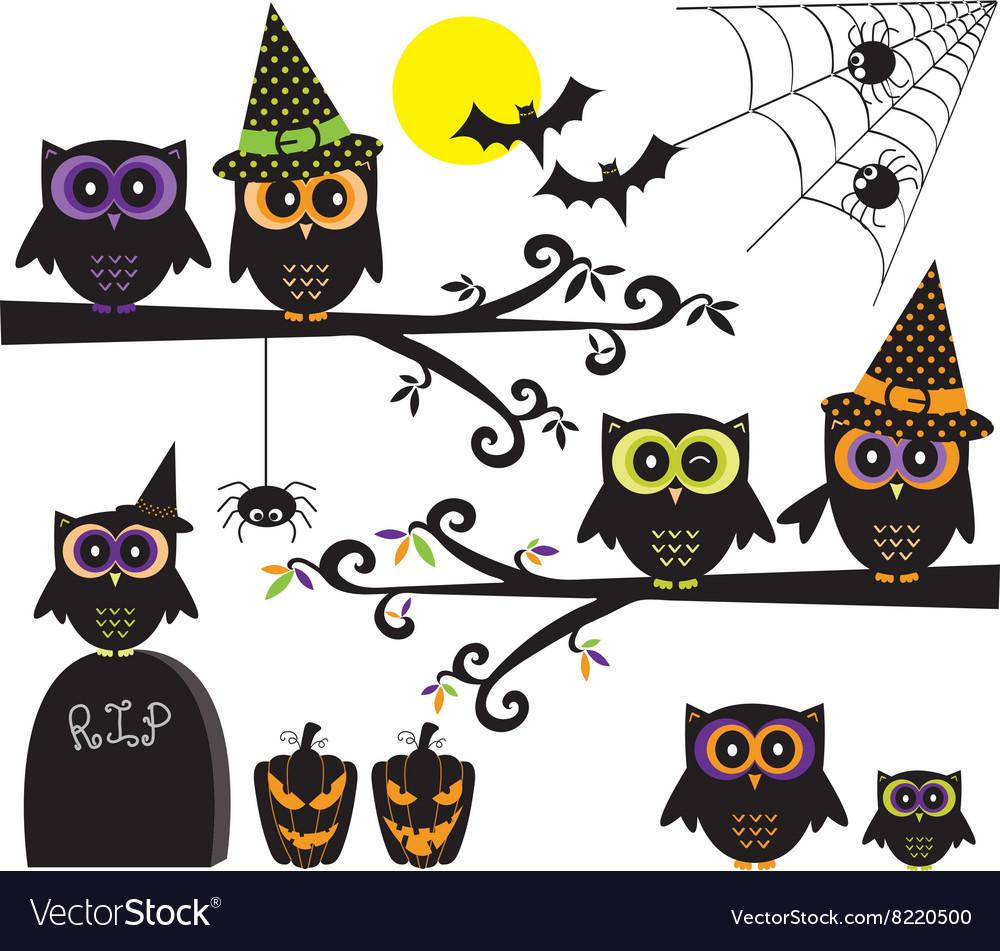 Halloween Owls collections Happy Halloween element vector image