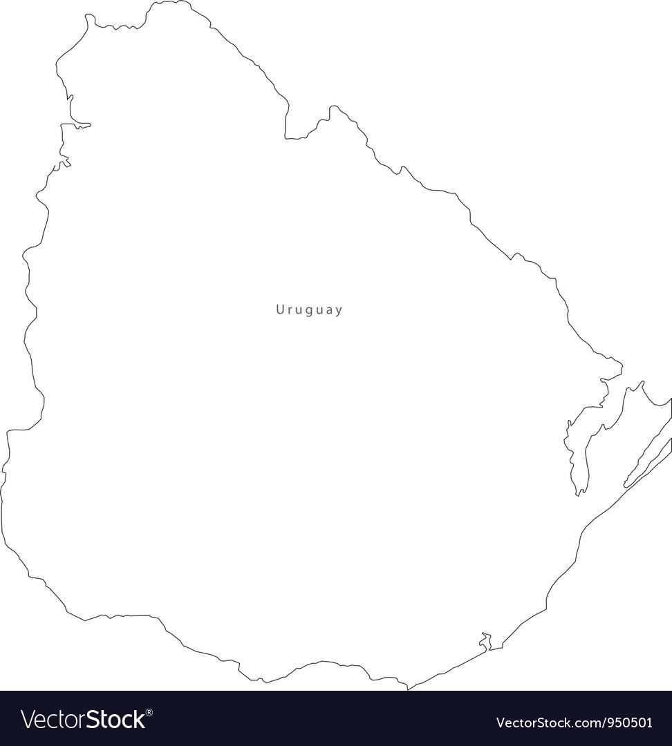 Black White Uruguay Outline Map Royalty Free Vector Image - Uruguay blank map