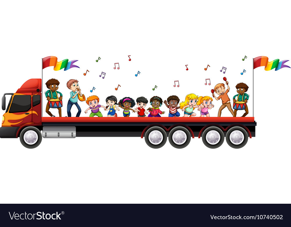 Children singing and dancing on the truck vector image
