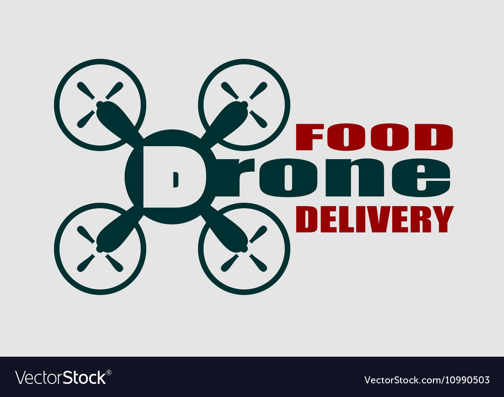 Drone Quadrocopter Icon Food Delivery Text Vector Image
