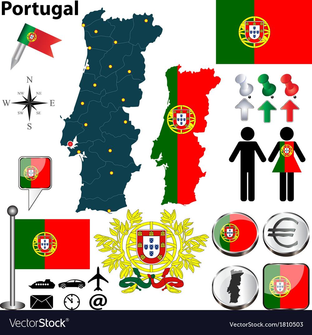 Portugal map Royalty Free Vector Image VectorStock